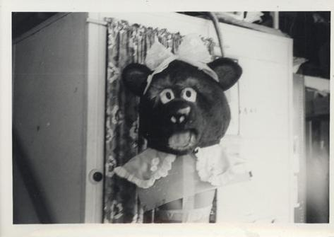 The head of the Cynthia Bear costume, 1967, B&W photograph, Museum Victoria collection