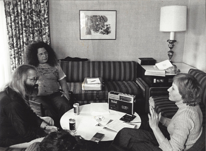 Rock & roll career: Interviewing Flo & Eddie Southern Cross Hotel, 1976. (L-R) Howard Kaylan (Eddie), Mark Volman (Flo), Blazenka Brysha. Scoop - originally Kaylan was the Phlorescent Leech and Volman was Eddie but a proofreading error swapped their names in print. These stage names were initially used for appearances with Frank Zappa's Mothers of Invention, when contractural obligations relating to their former band, The Turtles, prevented them from using their real names.