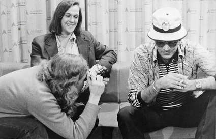 Up close and personal: Stephen Mills interviewing Hunter S. Thompson. Multi-tasking in the foreground, Sandy Thomas, who had been a draft resister in the pre-Gough years.